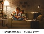 family before going to bed... | Shutterstock . vector #605611994