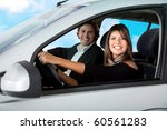 happy couple driving a car and... | Shutterstock . vector #60561283
