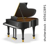 grand piano musical instruments ... | Shutterstock .eps vector #605612891