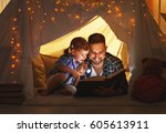 happy family father and child... | Shutterstock . vector #605613911