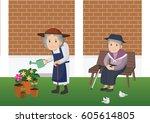 illustration of an elderly... | Shutterstock .eps vector #605614805