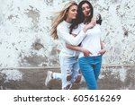 two young models  blond and... | Shutterstock . vector #605616269