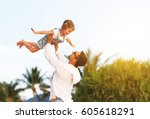 father's day. dad and child... | Shutterstock . vector #605618291