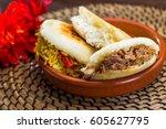 venezuelan typical food  arepa | Shutterstock . vector #605627795