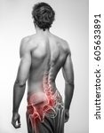 male with hip bone pain | Shutterstock . vector #605633891