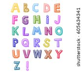 alphabet drawn by hand ... | Shutterstock .eps vector #605634341