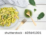 Plate Of Pasta And Pesto Of...