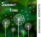 Dandelions On A Summer Green...