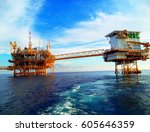 oil and gas platform in the... | Shutterstock . vector #605646359