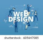 visual metaphor of web design...   Shutterstock .eps vector #605647085