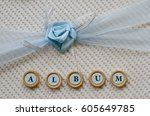 textile cover for an album with ... | Shutterstock . vector #605649785