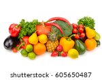 fruits and vegetables isolated... | Shutterstock . vector #605650487