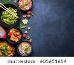 thai food background. dishes of ... | Shutterstock . vector #605651654