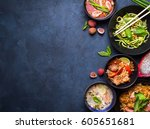 thai food background. dishes of ... | Shutterstock . vector #605651681