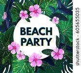bright vector floral banner... | Shutterstock .eps vector #605655035