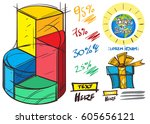 set of social icons in hand...   Shutterstock .eps vector #605656121