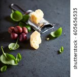 still life with parmesan ... | Shutterstock . vector #605656535