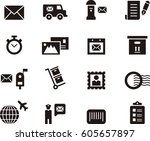 postal service black icons | Shutterstock .eps vector #605657897