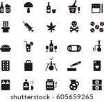 drugs   addictions black icons   Shutterstock .eps vector #605659265
