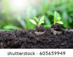 coins growth to profit concept... | Shutterstock . vector #605659949