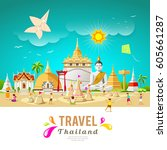 thailand travel building and... | Shutterstock .eps vector #605661287