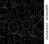font grunge seamless pattern ... | Shutterstock .eps vector #605663609