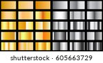 set of metal texture  silver... | Shutterstock .eps vector #605663729