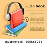 audio guide or audio book icon...   Shutterstock .eps vector #605665265