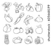 doodles of vegetables and... | Shutterstock .eps vector #605668199