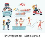vector cartoon illustration of... | Shutterstock .eps vector #605668415