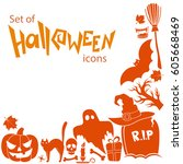 corner frame of halloween icons ... | Shutterstock . vector #605668469
