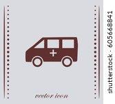ambulance car icon | Shutterstock .eps vector #605668841