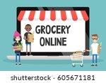 grocery online shopping.... | Shutterstock .eps vector #605671181