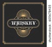 vintage frame design for labels ... | Shutterstock .eps vector #605678435