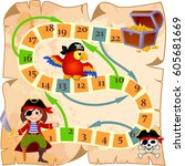 board game with pirate  parrot  ... | Shutterstock .eps vector #605681669