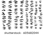 female woman eyes and brows... | Shutterstock .eps vector #605682044