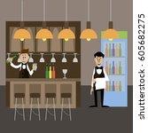 the cafe's bartender and waiter ... | Shutterstock .eps vector #605682275