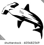 black and white linear paint... | Shutterstock .eps vector #605682569