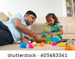 indian father and daughter... | Shutterstock . vector #605683361