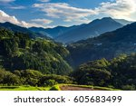 rice field landscape and arch... | Shutterstock . vector #605683499