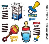 set of social icons in hand... | Shutterstock .eps vector #605684489