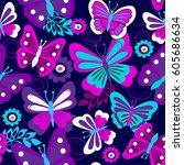 vector seamless geometric cute... | Shutterstock .eps vector #605686634