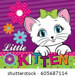 cute abstract illustration with ... | Shutterstock .eps vector #605687114