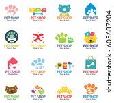 Stock vector pets shop logo labels and symbols set signs stickers and stamps collection for pet store 605687204
