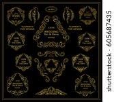 vector set of calligraphic... | Shutterstock .eps vector #605687435