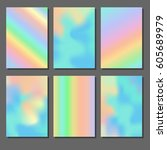 set of holographic backgrounds. ... | Shutterstock .eps vector #605689979