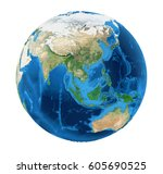earth globe asia view isolated...   Shutterstock . vector #605690525