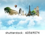 collection of european monuments | Shutterstock . vector #60569074