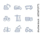 construction vehicles icons ... | Shutterstock .eps vector #605691971
