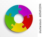 puzzle five color piece...   Shutterstock .eps vector #605692394